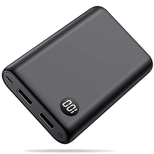 Trswyop power bank 13800mah, mini caricabatterie portatile [con led digitale display] batteria esterna portatile alta capacità con 2 usb porte per cellulare,tablet -nero