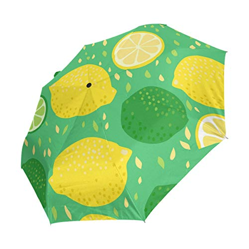 Ahomy Art Regenschirm, 3-Fach faltbar, Cartoon-Design, Gelb/Grün Zitronen und Limetten, robust, Winddicht, UV-Schutz, Sonnenschirm, automatisches Öffnen/Schließen