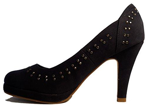 Talons hauts, Stiletto Pumps High Heels, vert, rouge, bleu, beige, rose, noir, pink avec des paillettes, chaussures femme, escarpins, modèle 11034102087007, plusieurs modèles et tailles. Bleu modèle D.