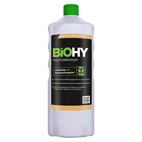 BIOHY Spezial Polsterreiniger 1 Liter Flasche | Ideal für Autositze, Sofas, Matratzen etc. | Ebenfalls für Waschsauger geeignet