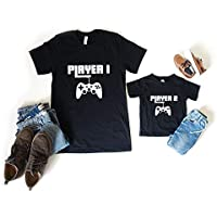 Player 1 & 2 Matching Unisex Shirt Set (S-2XL)(3m-12YRS)(Adult Shirt + Childs Shirt/Bodysuit)(Various Colours), Gamer Shirt Set, Mommy and Me, Daddy and Me,