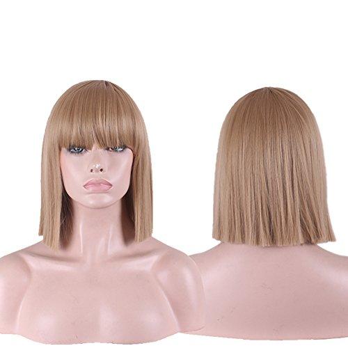 Urparcel Cheveux longue Lisse Perruque courte synthétique Perruque Bob Naturel Pour Femme Vie quotidienne 360 Marron