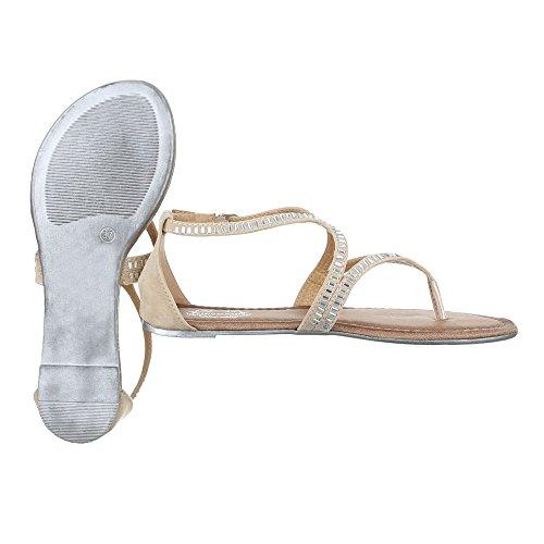 Zehentrenner Damenschuhe Peep-Toe Zehentrenner Schnalle Ital-Design Sandalen / Sandaletten Beige