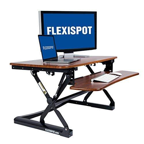 Flexispot M2B Stehen Schreibtisch-88,9cm Breite Plattform Höhe Verstellbarer Ständer bis Schreibtisch Computer Riser mit herausnehmbarer Tastatur Tablett (Gr. M, Schwarz) 35