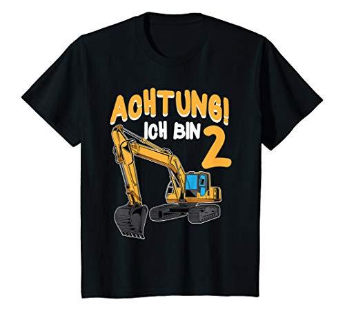 Kinder Bagger Geburtstag Achtung Ich bin 2 Jahre Baustelle T-Shirt