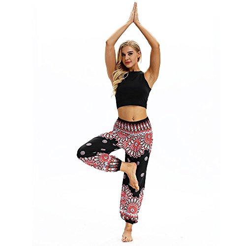 Lazzboy Pants Harem Boho Frauen beiläufige lose Hippie-Yoga-Hosen Baggy Aladdin (Schwarz)