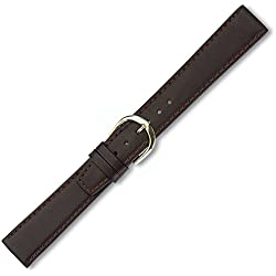Eichmüller Leather XL Band with Naht Gold Clasp Dark Brown 20mm