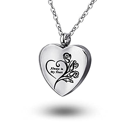 ZCBRISK Always in My Heart Flower Cremation Ashes Locket Necklace Urns Pendant Memorial Keepsake Jewelry 3