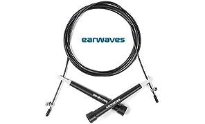 Earwaves ® R3 - Comba Crossfit Ultra-Speed de Alta Velocidad para Hombre y Mujer. Cuerda para Saltar para Boxeo, MMA. Longitud Ajustable de 3 Metros y rodamientos Super Ligeros para Double Unders.