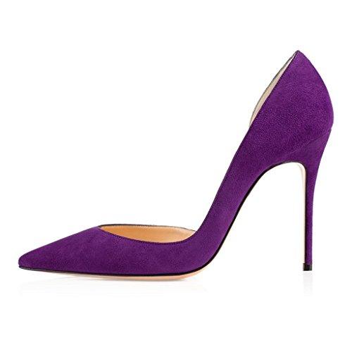 EDEFS Damen Zwei Stücke Pumps Spitze Zehen Stiletto DOrsay Pumps für Büro-Dame Hochzeit Violett