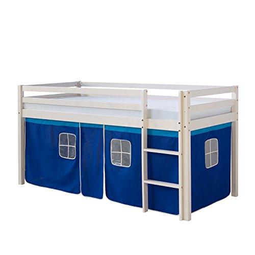 #Homestyle4u Hochbett Kinderbett Kinder Kinderhochbett Spielbett Vorhang weiß Neu#