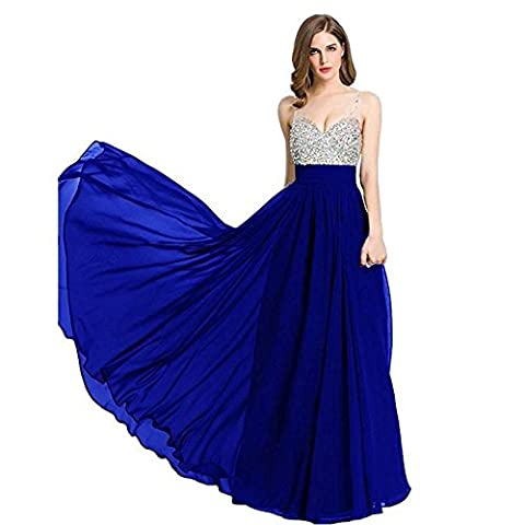 Dresses Women Chiffon Evening Wedding Bridal Bridesmaids Party Birthday Banquet Diamond Long Dress . Deep Blue . Us14