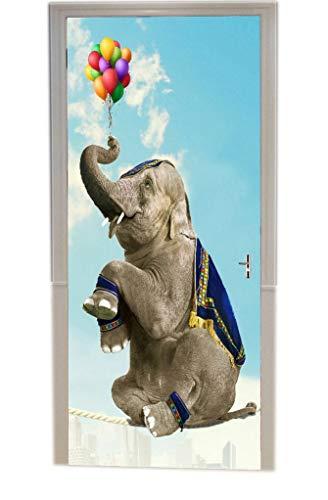 A.Monamour Pegatinas De Pared Linda Muestra De Elefante Jugando Globos Sentados En Una Cuerda Animal Impresión En 3D Vinilo De La Puerta Calcomanías Papel Tapiz Murales De Pared Adhesivos Posters
