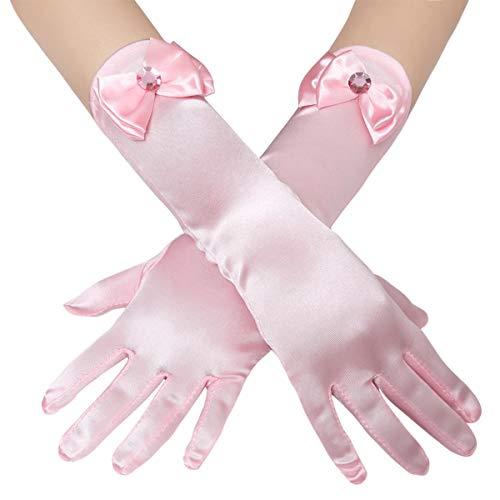 Coucoland Mädchen Satin Handschuhe mit Schleife klassisch Hochzeitskleid Prinzessin Handschuhe Mädchen Fasching Kostüm Accessoires (Pink)