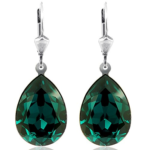 Ohrringe mit Kristallen von Swarovski® Grün Silber Tropfen NOBEL SCHMUCK -