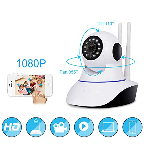 LJHJH WiFi Camera Home Security Indoor Surveillance Camera Baby Pet Monitor 1080P mit Motion Detection, Night Vision, Two-Way Audio Quad Multiplexer
