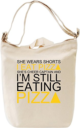 She Wears Shorts I Eat Pizza She's Cheer Captain Slogan Leinwand Tagestasche Canvas Day Bag| 100% Premium Cotton Canvas| DTG Printing| (Cheer Retro Shorts)