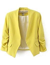 3/4 Ärmel Kragenlos kurzer modisch Fashion Damen Blazer Jacke Bianca (S- EU 34, gelb)