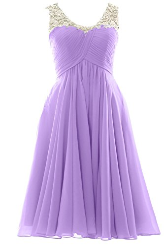 MACloth V Neck Beaded Lace Short Bridesmaid Dress Formal Evening Prom Gown Lavendel