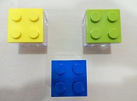 Petite boîte en forme de Lego carré en plexiglas avec couvercle en plastique pour bonbonnière - 5 x 5 x 5 cm, couleurs comme sur l'image - Sans dragées