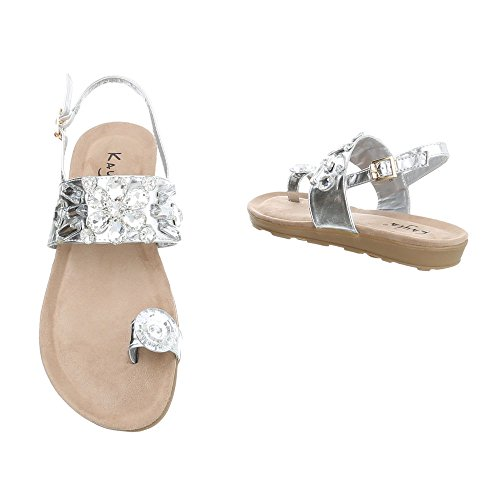 Ital-Design Chaussures Femme Sandales Plat Havaianas Tongs FitFlop Argent
