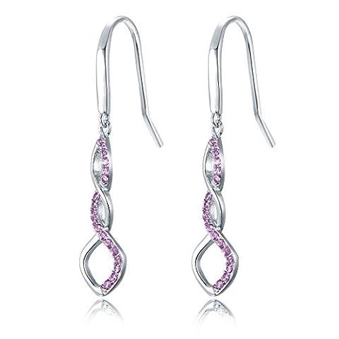 Women's 925 Sterling Silver Earrings, Pink Dangle Drop Hook Earring DE0062P