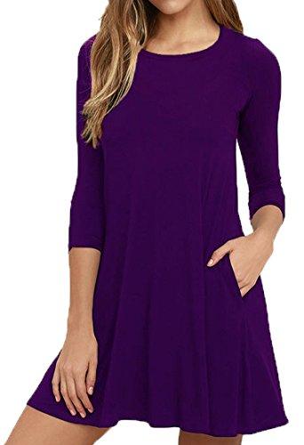 VIISHOW Damen 3/4 Ärmel-beiläufige lose T-Shirt-Kleid (Lila S) (Lila Kleid T-shirt)