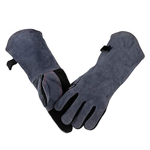 Schweißerhandschuhe Leder Extra Lange Ärmel Hitzefeste Grill Handschuhe Leder BBQ Handschuhe Schweißhandschuhe 16 Zoll,Grau (Ärmel Extra Lange)