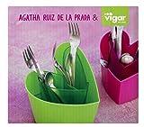 VIGAR Agatha Ruiz de la Prada Escurrecubiertos para Cocina, Material: Plástico, Magenta, Dimensiones: 17,5 x 17,5 x 14,5 cm
