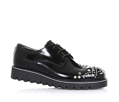 MISS GRANT - Chaussure à l'anglaise à lacets noire en cuir, applications de petits clous décoratifs à l'avant, logo sur la languette, Fille, Filles, Femme, Femmes