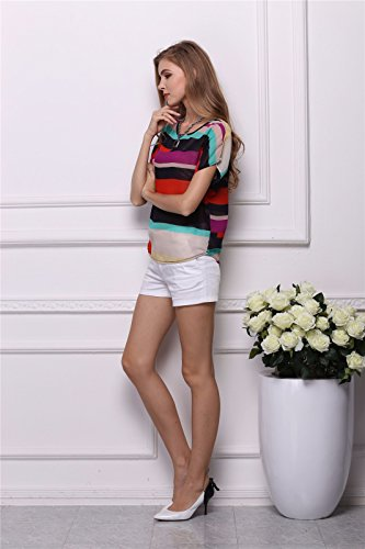 Estate Donne Multicolore A Strisce Pipistrello Chiffon Manica Corta T-Shirt Shirts Strisce Colorate