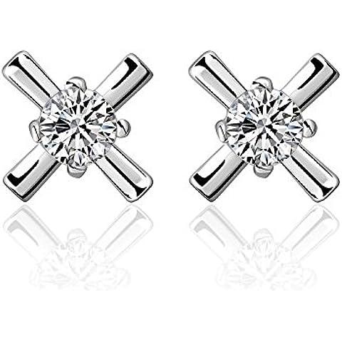 Designer Inspired-Orecchini a forma di croce, catenina in argento 925 con diamante, diametro 20 mm