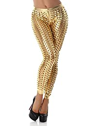 Women's Leggings Cutouts GoGo hole look Leather look Wet look gloss Gold 12-14