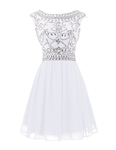 14 Amazonen (Wedtrend Damen Kurzes Abendkleid Chiffon Homecoming Kleid V-Rückenseite mit Perlenschnur WT10145-White-14)