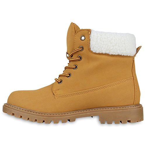 Stiefelparadies Unisex Worker Boots Herren Damen Stiefeletten Warm Gefütterte Stiefel Zipper Outdoor Schuhe Camouflage Booties Übergrößen Flandell Hellbraun Weiss Gelb