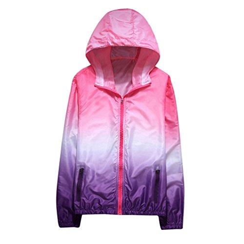 9b950b4be monicanine Unisex Rainbow sol UV protección manga larga piel abrigos con  capucha chaqueta al aire libre