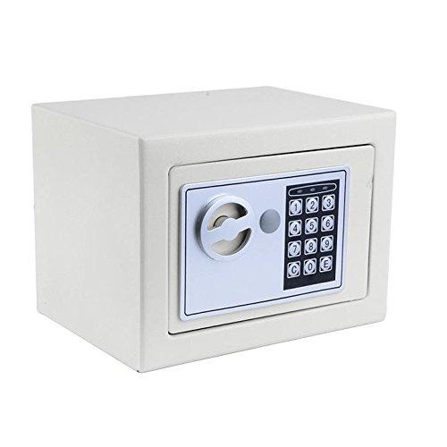 Elektronischer Tresor, Tomasa Safe Tresor Sicherheitskasten mit digitalem Zahlenschloss inkl. 4 Batterien und 2 Schlüssel für Schmuck Bargeld 22.5 x 17 x 16cm (Weiß) (Elektronische Regale)