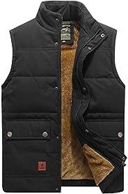 Flygo Men's Winter Warm Outdoor Padded Puffer Vest Thick Fleece Lined Sleeveless Ja