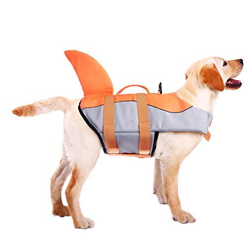 ASENKU Schwimmweste für Hunde, Ripstop, Schwimmweste für Wassersicherheit im Pool, Strand, Bootfahren, XXL, Orange -