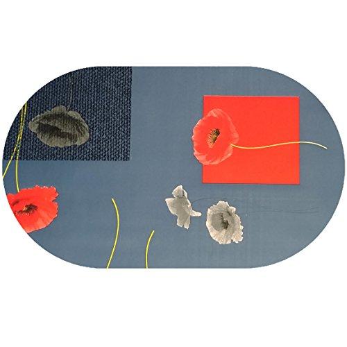 DecoHomeTextil Wachstuch Tischdecke Rund Oval Farbe & Größe Wählbar LFGB Klatschmohn Blau 130 x 180 cm Oval abwaschbare Wachstischdecke