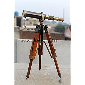 Vintage Antique Nautical Gift Decorative Solid Brass Telescope w// Wooden Tripod