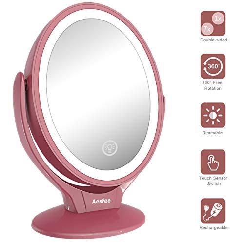 Aesfee Schminkspiegel Beleuchtet mit 21 LED-Lichtern, 1x / 7X Vergrößerung Doppelseitige 360° Drehbar Kosmetikspiegel mit Dimmbarer Touchscreen,USB Aufladbar Tischspiegel - Roségold - Doppelseitige, Beleuchtete Make-up-spiegel