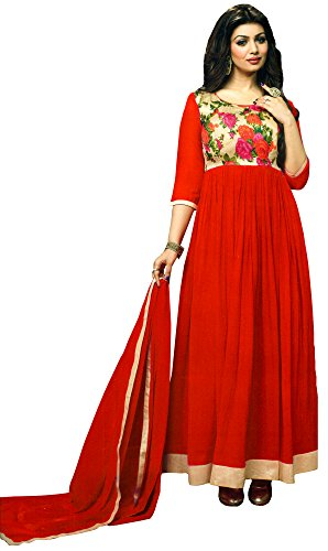 Exotic India Anarkali Suit with Printed Flowers and Solid Ghagra - Color Bittersweet RedGarment Size 40  available at amazon for Rs.1595