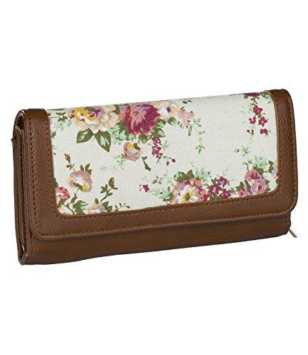 SIX Sommer, Damen Portemonnaie, Geldbörse, mit Blumenmuster und braun/rötlicher Lederoptik (Piraten Geldbörse Herz)