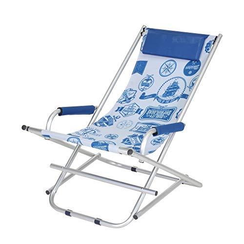 Enrico coveri sedia sdraio pieghevole in alluminio e tessuto con fantasia marina, dondolina con cuscino perfetta per giardino, esterno e mare (bianco)