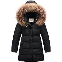 Zoerea Kinder Junge Mädchen Daunenjacken Wasserabweisend Daunenmantel Fashion Lang Kälteschutz Warm Verdickte Winterjacke mit Kapuze (Körpergröße 90-155CM)