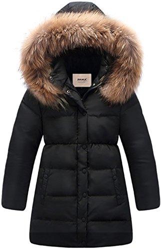 ZOEREA Kinder Junge Mädchen Daunenjacken Wasserabweisend Daunenmantel Fashion Lang Kälteschutz Warm Verdickte Winterjacke mit Kapuze (Schwarz, Körpergröße 125-135CM)