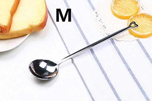 Genven Neue Küchenhelfer Herzförmigen Edelstahl Löffel Geschirr Kaffeelöffel tragbare Geschenk (M Silber)