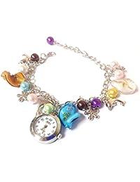 Culater® Reloj De Cuarzo Delfines Colgante Brazalete Colorido De Perlas De ImitacióN Mujeres NiñA