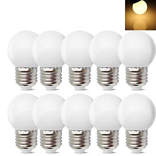 10 Stück E27 Schraube Sockel 1 W LED Golf Ball Glühbirne Globe Lampe für Urlaub Party Dekoration 220 V - Warm Weiß -